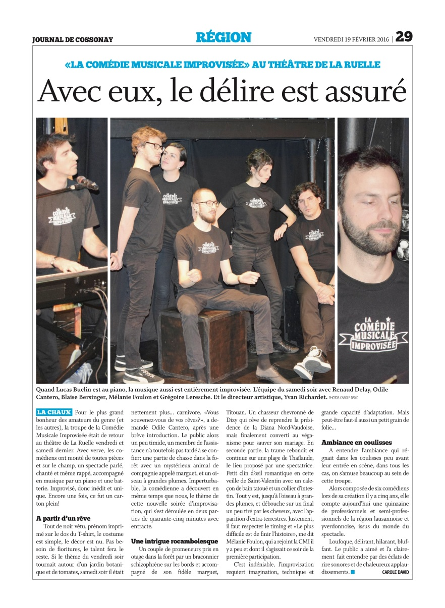 Comédie Musicale Improvisée Cossonay